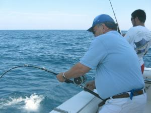 Click to enlarge image WENDELL PULLING IN THE BIG AMBERJACK - Wendell -